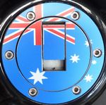 "TRIUMPH Petrol/Gas Cap. Aluminium Tank Decal: ""A Land Down Under"""